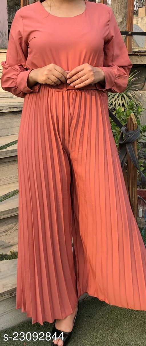Trendy Full Sleeves , Wide Leg,Pleated Women Round Neck Jumpsuit