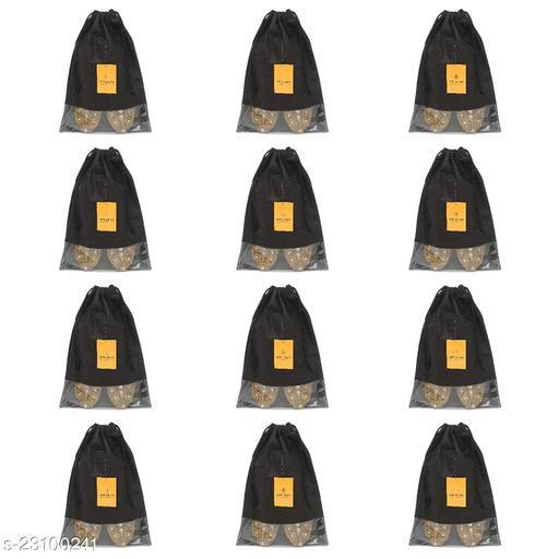 Srajanaa Non Woven Multiutility Portable Dustproof Shoe Storage Organizers Fabric Shoe Pouch Shoe Bag Shoe Cover- Set of 12 (Black)