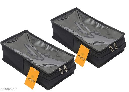 Srajanaa Women's Sandal Cover & Shoe Cover/Shoe Pouch Black Shoe Box Style - Small (Pack of 2)