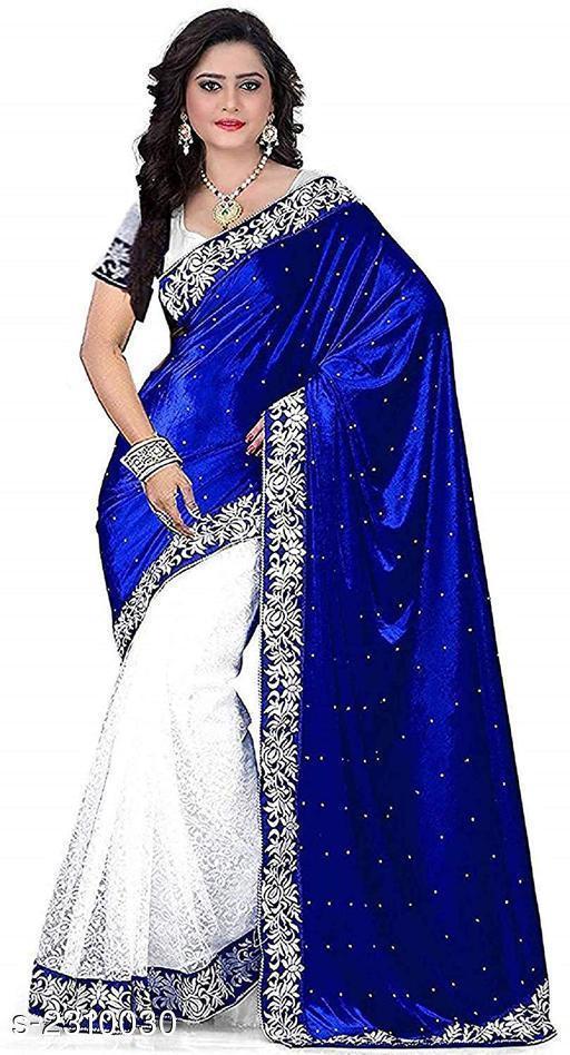 Alluring Velvet & Net Women's Saree