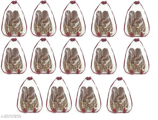 Srajanaa Shoe Storage Pouch Shoe Covers for Home, Small Shoe Cover Set/Shoe Pouch (Set of 14, Maroon)