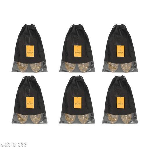 Srajanaa Non Woven Multiutility Portable Dustproof Shoe Storage Organizers Fabric Shoe Pouch Shoe Bag Shoe Cover- Set of 6 (Black)