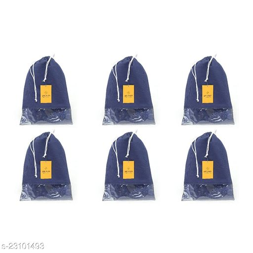 Srajanaa Non Woven Multiutility Portable Dustproof Fabric Shoe Pouch Shoe Bag Shoe Cover- Set of 6 (Blue)