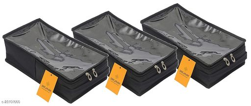 Srajanaa Men's Under Bed Storage Shoes Organizer Bag with Clear Plastic Zippered Cover Box - Large (Pack of 3)