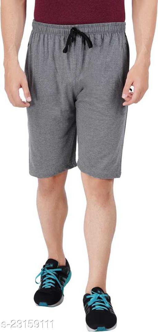 Solid Men Grey Shorts