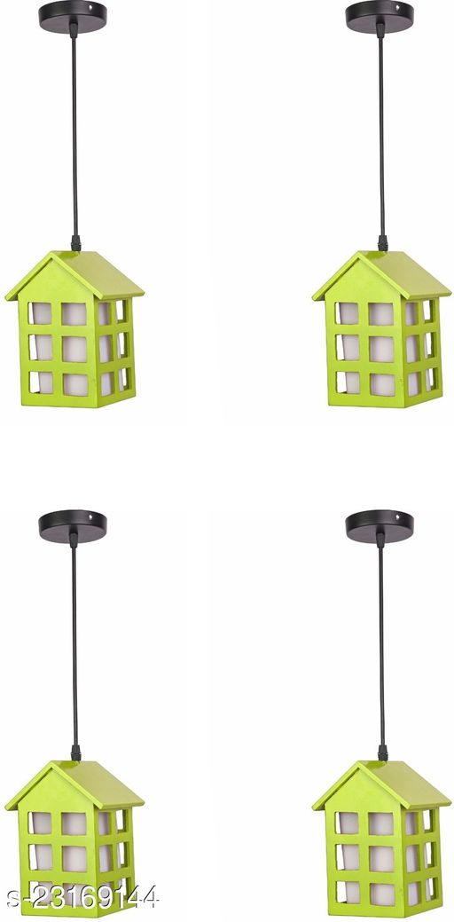 Somil Hanging Hut Shape Design Pendent Decorative Light Lamp With All Fitting And Fixture For Home Indore Lighting Decoration, Pack Of 4