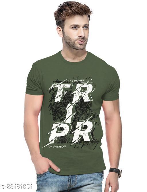 Printed Men Round Neck Dark Green T-Shirt