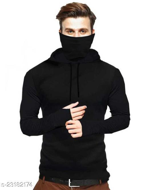 Solid Men Hooded Neck Black Sweatshirts