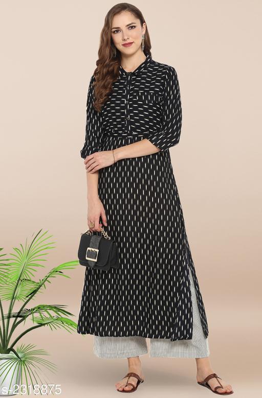 Women's Printed Black Rayon Kurti