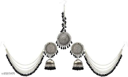 BSINT Beings you Oxidised Silver, Black regular and partywear StylishBahubali Earrings for Women and Girls