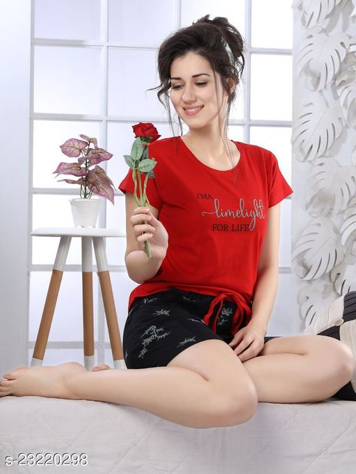 Women's Cotton Floral Nightwear Top and Shorts Loungewear Set(Size:-S To 3XL)(Colour And Design Will Not Same As Photo Always All The Time)