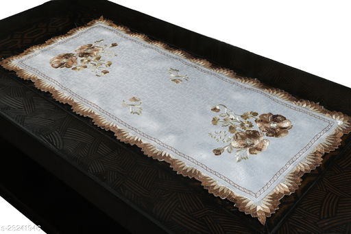 Centre Table Runner( Gold Color Size-33x15 Inches)Design-Double Embroidery Flower
