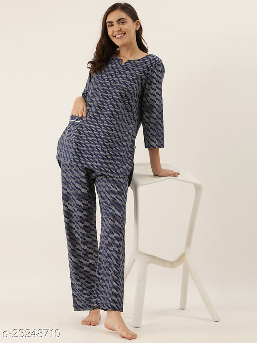 Banno's Swagger Women Indigo Cotton printed Night Suit