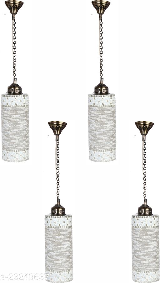 Afast Hand Decorative Mozac Pendant Hanging Ceiling Lamp Light Ornamented With Chips & Beads For Magical Lighting (Set Of Four)