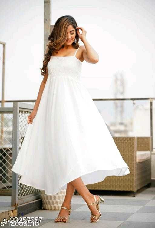 IQRAAR Women Rayon High-Low Gown (White)