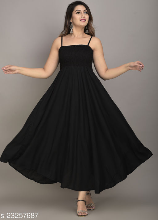 IQRAAR Women Rayon High-Low Gown (Black)