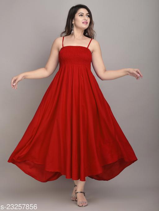 IQRAAR Women Rayon High-Low Gown (Red)