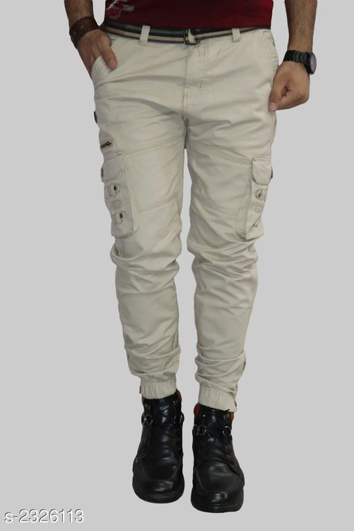 Comfy Men's Stylish Solid Cotton Blend Trouser