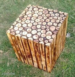 Wooden Square Shape Stool Natural Wood Logs Best  Used as Bedside Tea Coffee Plants  Table for Bedroom Living Room Outdoor  Garden Furniture Pre-Assembled - 12  inch