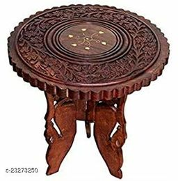 Wooden Folding Table/ Coffee table Round Vase with 3 Leg Carving Brass Design 8 inches- set of 2