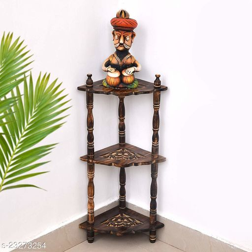 Wooden Mini Corner /Wall Shelf  (Number of Shelves - 3, with Antique Brown Color