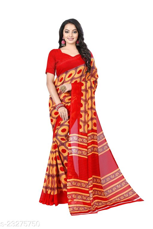 Ruhabs Daily wear printed georget sarees with blouse piece