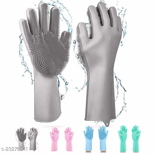 All in Stores Eco Magic Silicone Latex-Free Scrub Cleaning Gloves with Scrubber for washing and Pet Grooming (Multicolour, 1 Pair)