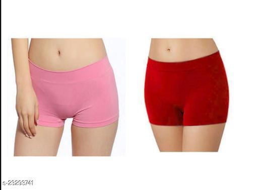 Women Boy Shorts Pink Cotton Blend Panty (Pack of 2)