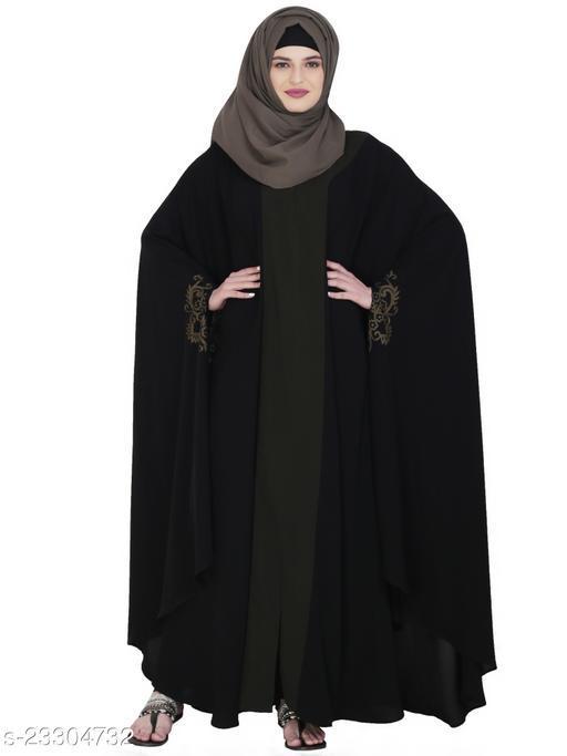 MODESTLY Delicate Embroidered Black Irani Kaftan