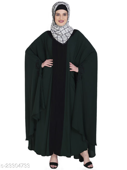 MODESTLY Delicate Embroidered Bottle Green Irani Kaftan