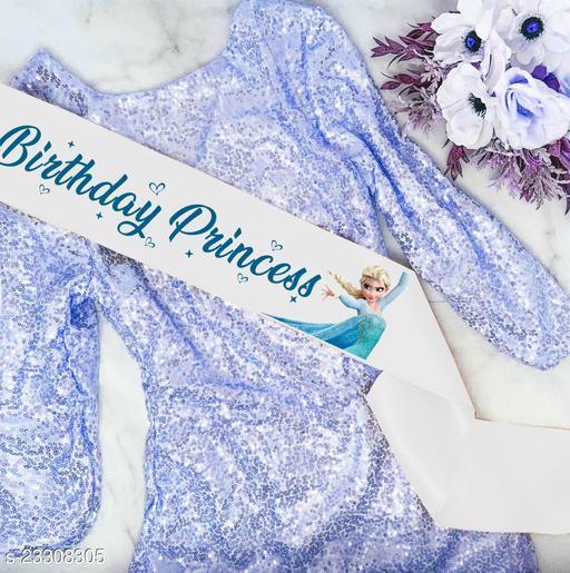 "Style Secrets Shimmering Satin Premium Quality 3"" White Birthday Princess Birthday Sash ( Age- 5 and up )"