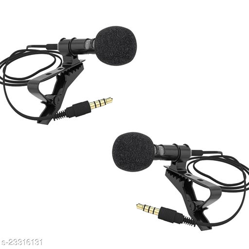 ADZOY 3.5mm Clip Microphone For Youtube, Tik Tok   Collar Mike for Voice Recording   Lapel Mic Mobile, PC, Laptop, Android Smartphones, DSLR Camera Microphone(SET OF 2)