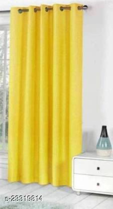 1 PIECE OF YELLOW COLOR (9 FEET SOLID CRUSH ) LONGDOOR CURTAIN
