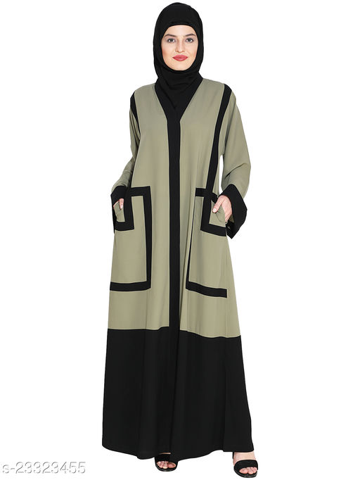 MODESTLY Quirky Mint Green Dubai Style Abaya with detailing