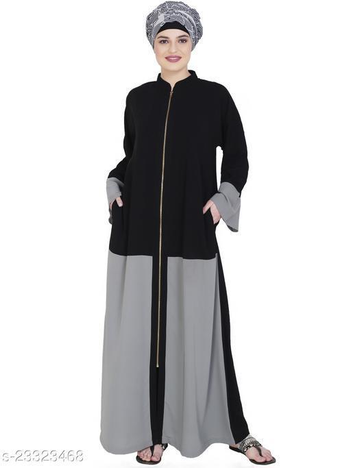 MODESTLY Dazzling Zip-Up Grey Abaya