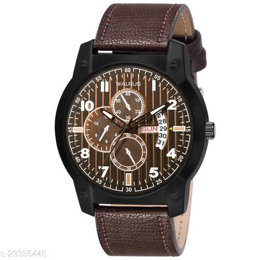 Walrus Commuter V Series Brown Dial Men Wristwatch With Date & Day Function & Artificial Chronograph Display