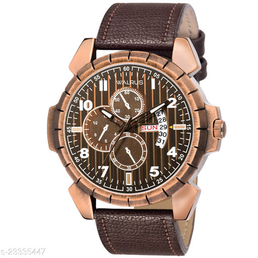 Walrus Commuter VI Series Brown Dial Men Wristwatch With Date & Day Function & Artificial Chronograph Display