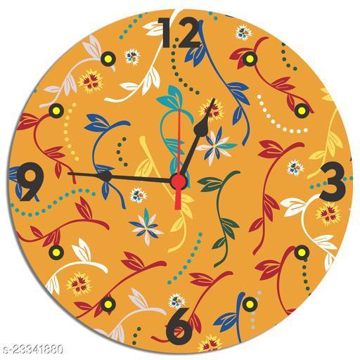 BuyIndia Round Designer Wall Clock for living room, MDF Wood Quartz Wall Clock