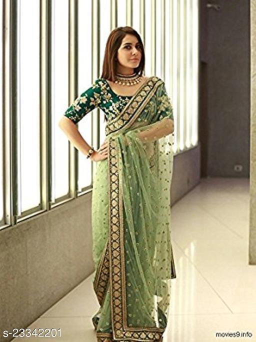 Designer Women's Green Net Embroidery Saree