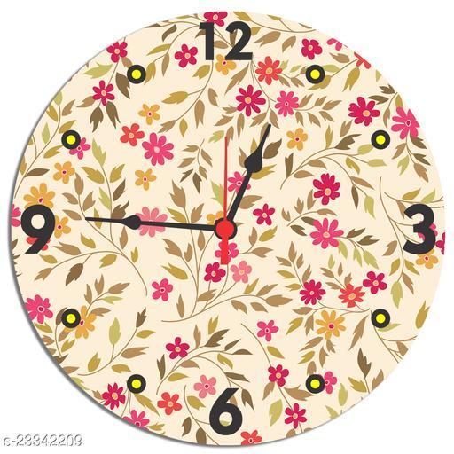 BuyIndia Round Wall Clock for Gift, MDF Wood Quartz Wall Clock