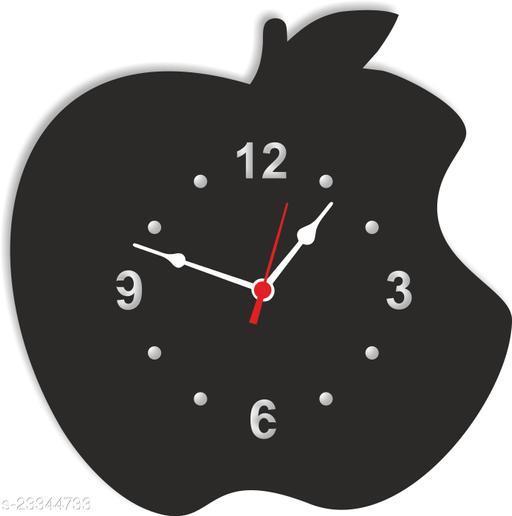 BuyIndia Trending Decorative Wall Clock for living room  Artistic Analog Wall Clock, designer wall clock, Apple shape Wall Clock (MDF Wood Quartz Wall Clock For Bedroom Multicolor)