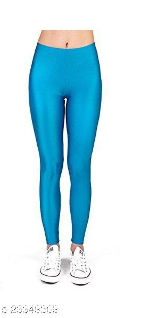 BEST SELLING WOMEN SKINY SHINING LEGGINGS SKY BLUE