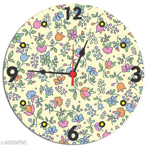 BuyIndia Designer Round Wall Clock for living room, MDF Wood Quartz Wall Clock
