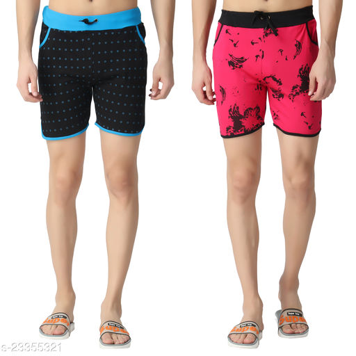 Fasha Cotton Men's and Boy's Printed shorts pack of 2