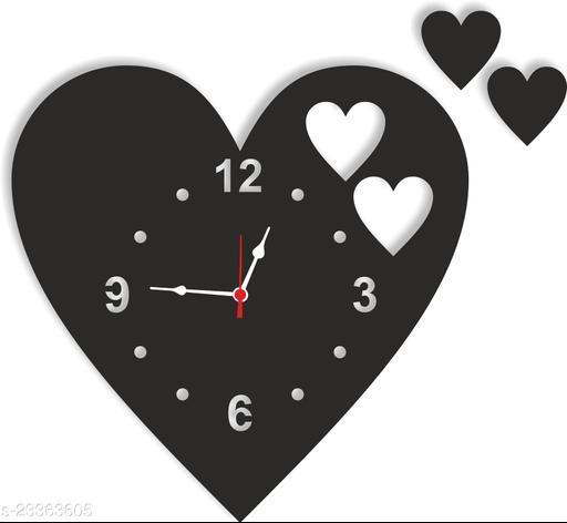 BuyIndia Trending Decorative Wall Clock for living room   Stylish Analog Wall Clock, designer wall clock, Heart shape Wall Clock (MDF Wood Quartz Wall Clock For Bedroom Multicolor) Artistic