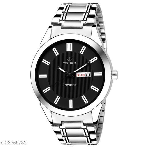 Walrus Invictus III Series Black Dial Men Metallic Wristwatch With Day & Date Function