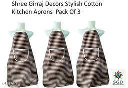 Elegant Cotton Kitchen Apron(Pack Of 3)