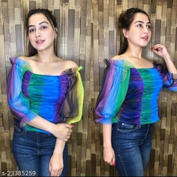 Fabric: Net Sleeve Length: Three-Quarter Sleeves Multipack: 1 Sizes: XXS (Bust Size: 30 in)  S (Bust Size: 34 in)  XS (Bust Size: 32 in)  L (Bust Size: 38 in)  M (Bust Size: 36 in)