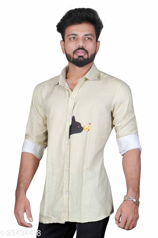 Full button Placket, Long Sleeves, Curved hemline Casual Shirt For Mens