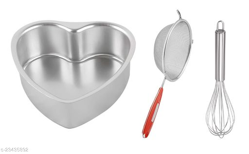 Combo of Aluminium Heart Shape Cake Mould with Stainless Steel Soup Flour Strainer & Egg Whisk Beater